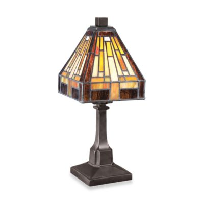 Quoizel® Tiffany 1-Light Portable Table Lamp in Vintage Bronze