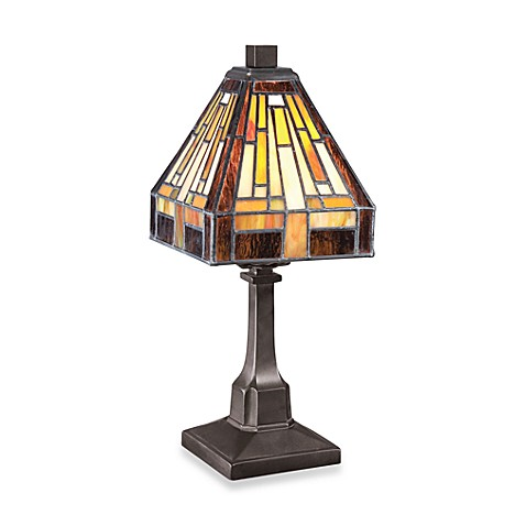Quoizel® Mini Tiffany 1-Light Portable Table Lamp in Vintage Bronze