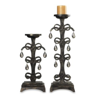 Sterling Industries Teak Crystal Drop Candle Holders (Set of 2)