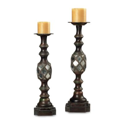 Sterling Industries Accented Mirrored Candle Holders (Set of 2)