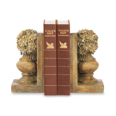 Sterling Home Floral Urn Bookends