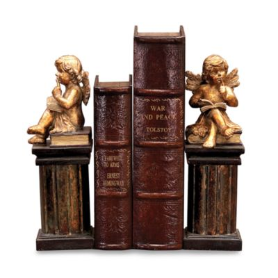 Sterling Home Gold Thin King Cherub Bookends