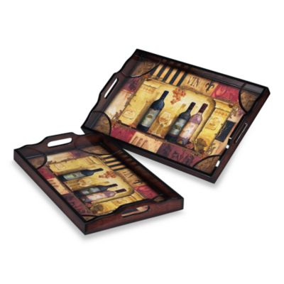 Sterling Industries French Country Wine Bottle Trays (Set of 2)