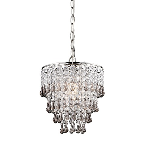 Sterling Industries Teak and Clear Crystal Pendant