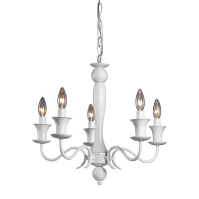 Sterling Industries Gloss White 5-Light Chandelier