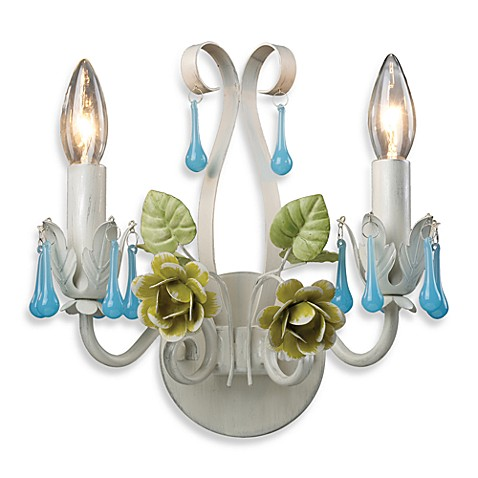 Sterling Industries Green & Blue Floral Wall Sconce