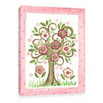 Floral Tree with Pink Polka Dots Canvas Wall Art