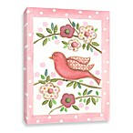 Bird on Branch with Pink Polka Dots Canvas Wall Art in Pink