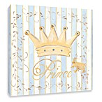 Blue Stripe Prince Crown Canvas Wall Art