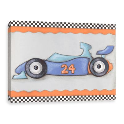 #24 Blue and Orange Race Car Canvas Wall Art