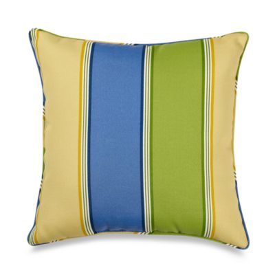 17-Inch Welt Cord Pillow in Napa Stripe/Summer