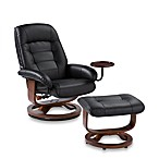Bay Hill Modern Leather Recliner and Ottoman Set