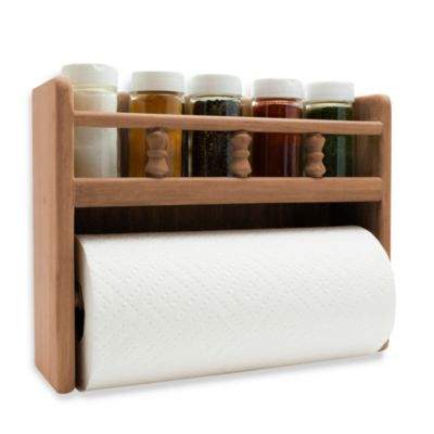 Teak Paper Towel Holder With Spice Rack