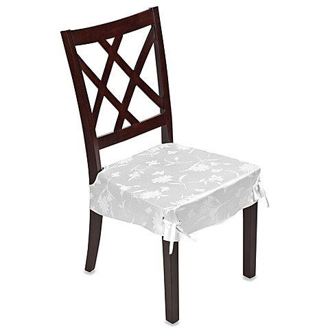 Spring Meadow Damask Dining Room Chair Cover White