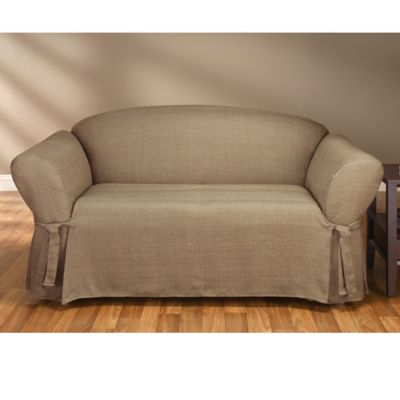 Sure Fit® Mason Cocoa Relaxed Fit Loveseat Slipcover