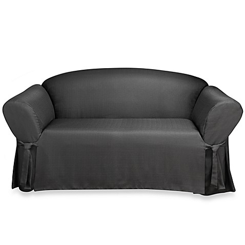 Sure Fit® Mason Relaxed Fit Loveseat Slipcover in Ebony