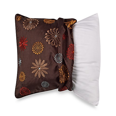 Myop Throw Pillow Covers : MYOP Seventies Flowers Square Throw Pillow Cover in Brown - Bed Bath & Beyond