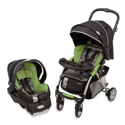 Evenflo FeatherLite 400 Stroller with Embrace 35 Car Seat in Aloe Green