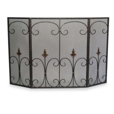 Tri-Fold Fleur De Lis Fireplace Screen