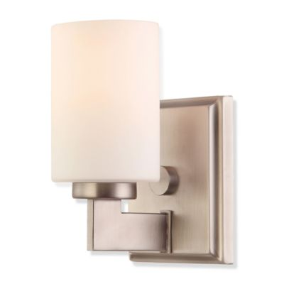 Taylor® 1-Light Bathroom Fixture in Antique Nickel with Opal Etched Glass Shades