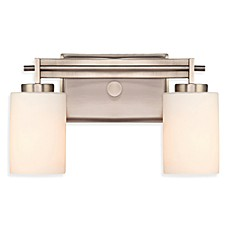 Taylor 2-Light Bathroom Fixture in Antique Nickel with Opal Etched Glass Shades