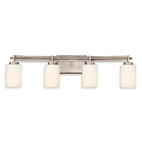 Taylor®  4-Light Bathroom Fixture in Antique Nickel with Opal Etched Glass Shades