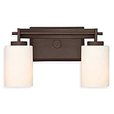 Quoizel®  Taylor 2-Light Bath Fixture w/Opal Etched Glass Shades in Western Bronze