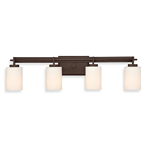 Quoizel®  Taylor 4-Light Bath Fixture w/Opal Etched Glass Shades in Western Bronze
