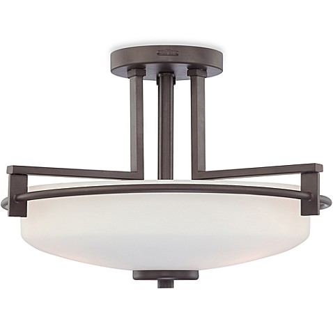 Linear Style Ceiling 3-Bulb Taylor Light Fixture with Opal Etched Glass and Western Bronze Finish