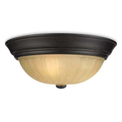 Tradewinds 3-Light Flush Mount with Espresso Finish and Amber Scavo Glass