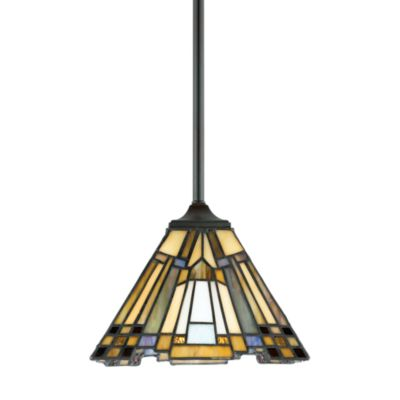 Quoizel® Inglenook® 1-Light Mini Pendant with Tiffany Glass Shade and Valiant Bronze Finish