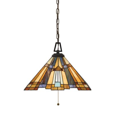 Inglenook® 3-Light Hanging Pendant Light with Bronze Finish and Tiffany Glass Shade by Quoizel