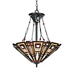 Three Light Glass Chandelier with Valiant Bronze Finish and Tiffany Classic Craftsman Art Glass