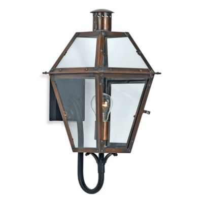 Quoizel ® Lighting Rue de Royal 1-Light Outdoor Wall Lantern in Aged Copper