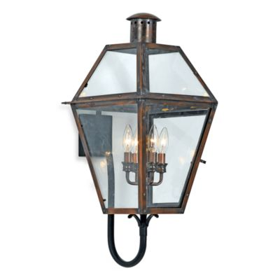 Quoizel ® Lighting Rue de Royal 4-Light Outdoor Wall Lantern in Aged Copper