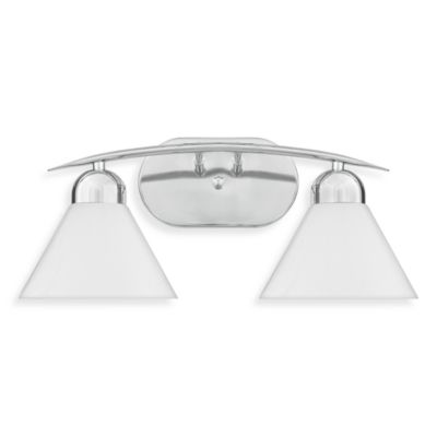 Demitri 2-Light Polished Chrome Finished Bath Fixture with White Seedy Sandstone Glass