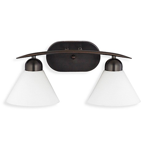 Demitri 2-Light Harbor Bronze and Opal Glass Bathroom Fixture