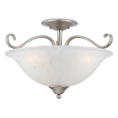 Duchess Antique Nickel Finish Semi-Flush Mount 3-Light with Grey Marble Glass Shade