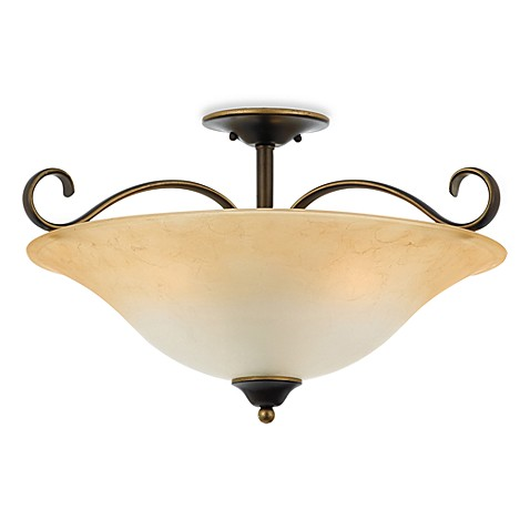 Duchess 3-Light Ceiling Fixture in PAlladium Bronze and Champagne by Quoizel®