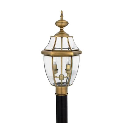 Quoizel® Newbury 2-Light Outdoor Post Fixture in Antique Brass