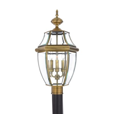 Quoizel® Newbury 3-Light Outdoor Post Fixture in Antique Brass