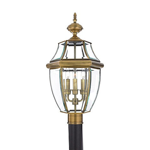 buy quoizel newbury 3 light outdoor post fixture in antique brass