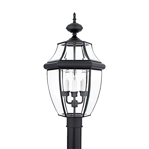 Quoizel®  Newberry 3-Light Outdoor Post in Mystic Black