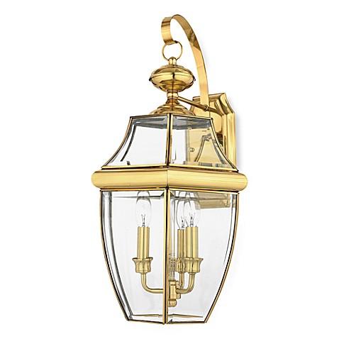 Buy quoizel newbury 3 light outdoor fixture in polished - Polished brass bathroom lighting fixtures ...