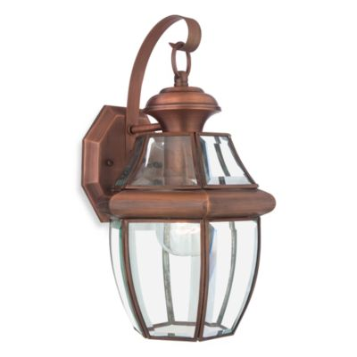 Quoizel Newbury Outdoor Lantern Light with Aged Copper Finish and 150-Watt Bulb Capacity