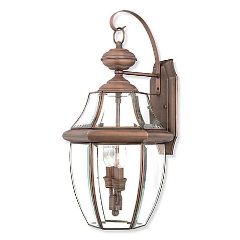 Quoizel® Newbury 2-Light Outdoor Fixture with Aged Copper Finish and Beveled Glass