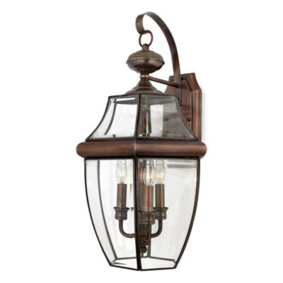 Quoizel Newbury 3-Light Outdoor Lantern with Aged Copper Finish and Clear Glass Panels