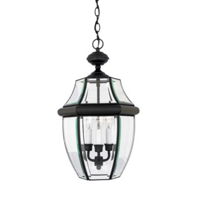 Quoizel Newbury 3-Light Hanging Outdoor Lantern in Mystic Black