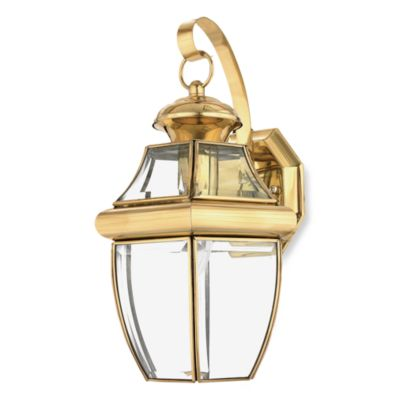 Quoizel® Newbury Medium 1-Light Outdoor Wall Fixture in Polished Brass