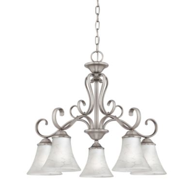 Royal European Chandelier With Grey Marble Glass Shades and Antique Nickel Hand-Forged Iron